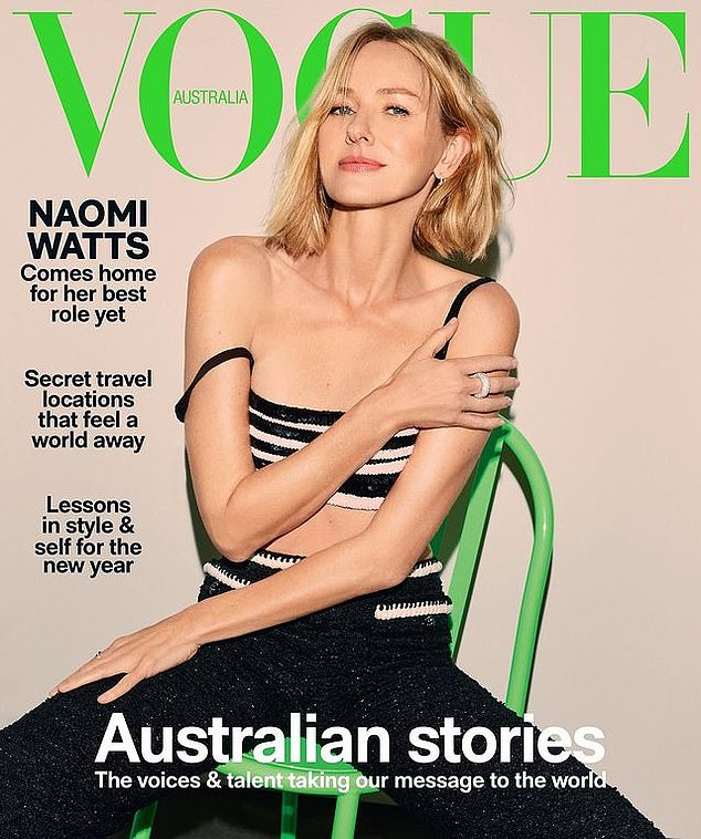 Sitting pretty:The Ring star,52, looks flawless on the cover of Vogue as she shows off her porcelain complexion and slender figure