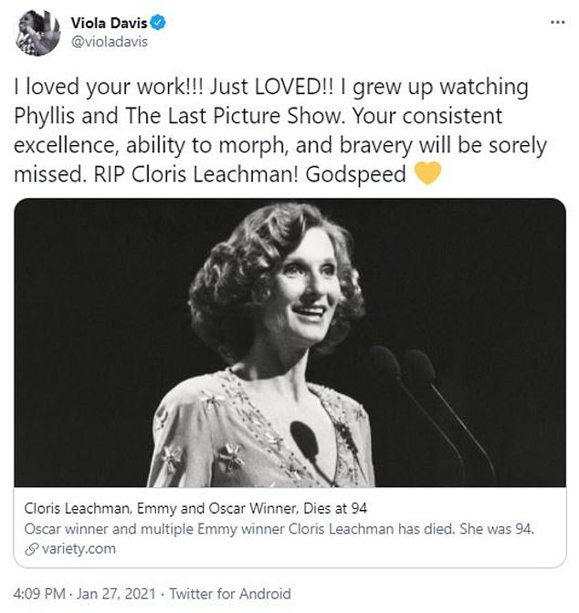 Lots of love:Viola Davis gushed over how much she 'LOVED' Cloris work, specifically her performance in the 1970s sitcom Phyllis, which aired on CBS for two seasons