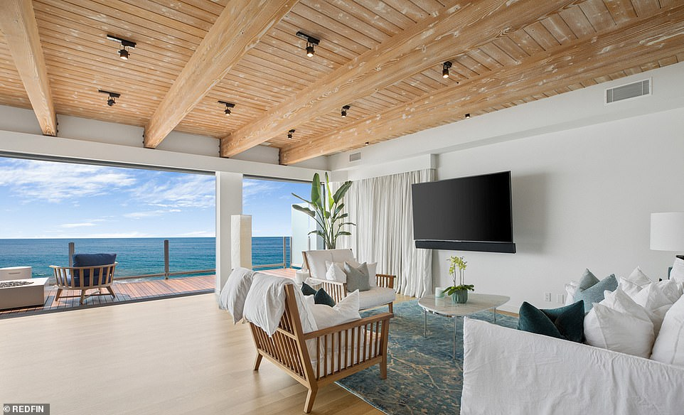 Home sweet home: The 5,500-square-foot property sits on an upscale Malibu street, with four bedrooms and three-and-a-half bathrooms