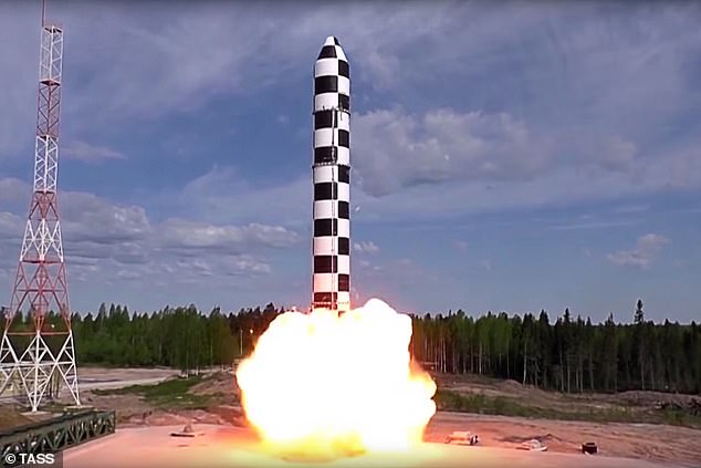 Russia is planning on conducting the flight tests after missile ejection tests, or drop tests, have had positive results. Pictured: A drop test of the RS-28 Sarmat missile in 2018