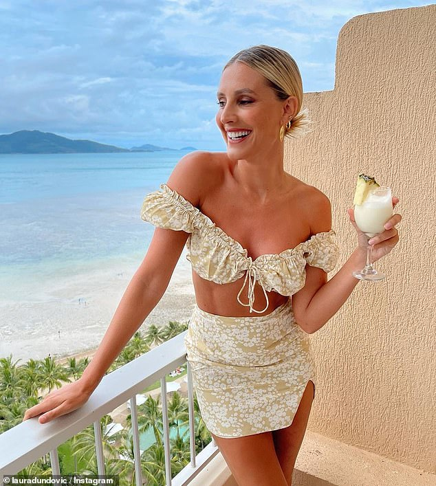 Paradise: After arriving in the Whitsundays, Laura continued to share a series of holiday snaps, captioning one bikini photo: 'Vacay mode.'