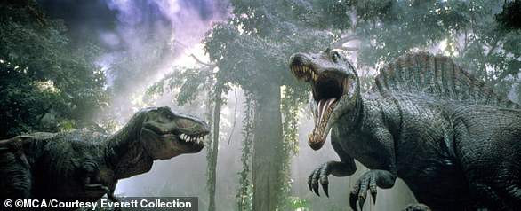 Spinosaurus (right) faces off against a T-rex in the movie Jurassic Park III.The 50-foot, seven-tonSpinosaurus was the largest known carnivorous dinosaur and lived in North Africa 100 million years ago