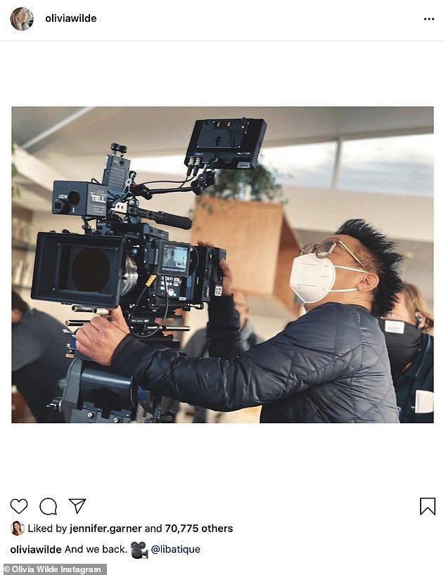 'And we back,' Wilde captioned an onset photo of her cameraman Matthew Libatique, which was liked by her famous pals including Jennifer Garner