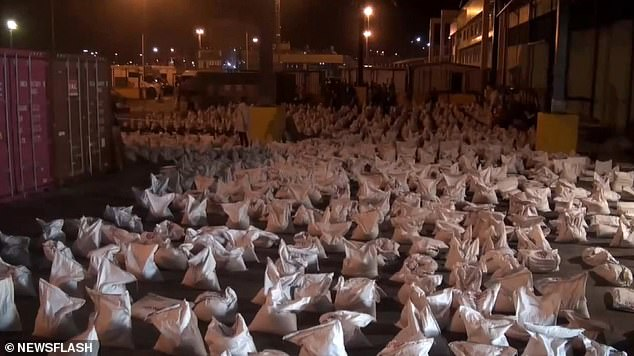 The drugs were discovered hidden in 3,500 bags of fertilizer on board the vessel from Colombia - the world's cocaine capital