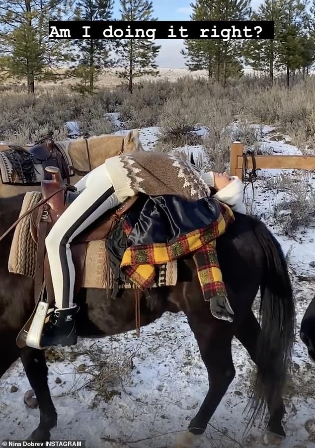 Horsing around: TheXXX: Return of Xander Cage actress shared a video to her Instagram story showing her laying on a horse as it treaded through the snow