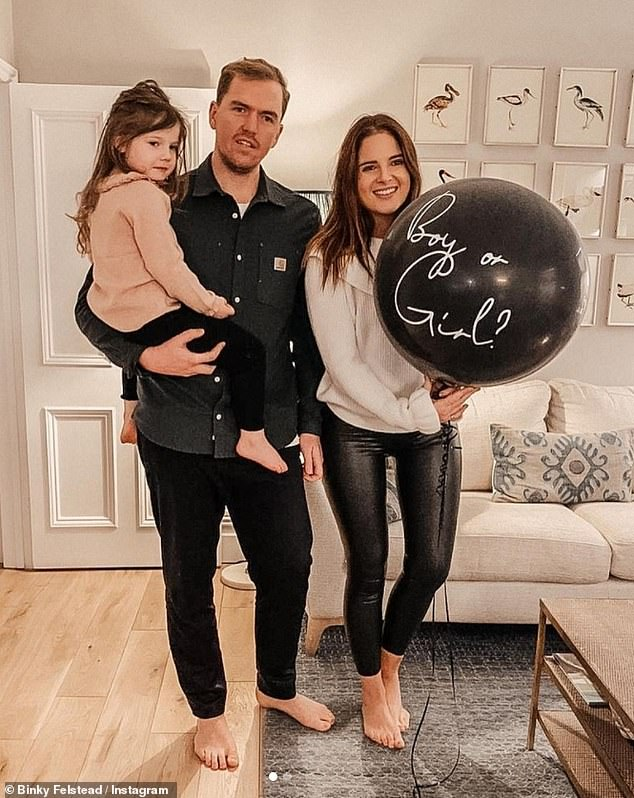 Reveal: The Made In Chelsea star, 30, uploaded the clip to her Instagram as she held a giant balloon reading 'Boy or Girl?'
