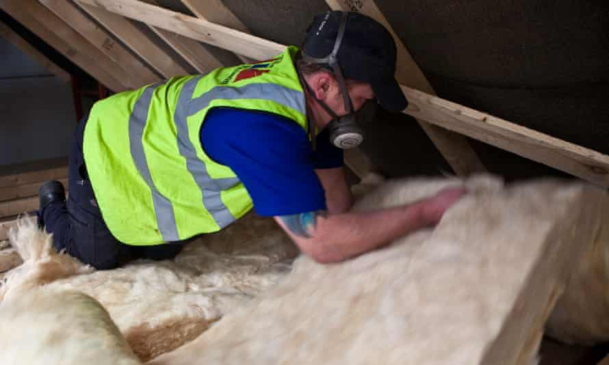 Insulation is fitted in a loft.