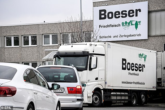 A lorry outside the Boeser plant where the outbreak occurred, which employs hundreds of people who are now being quarantined