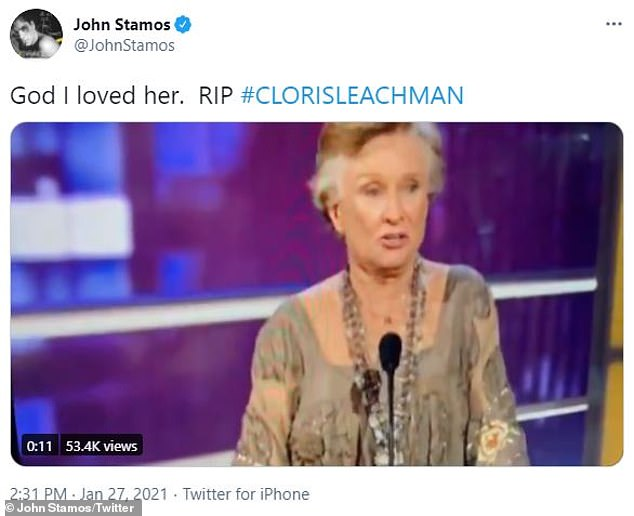 Hilarious:John Stamos also made sure to honor Leachman's undeniable legacy by sharing a hilarious clip of her from the Comedy Central Roast of Bob Saget in 2008