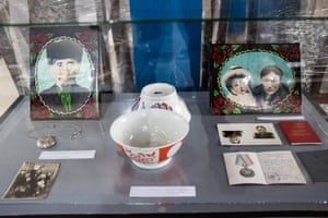 An exhibit showing photographs and other artefacts at the ethnic museum in Sary-Mogol.