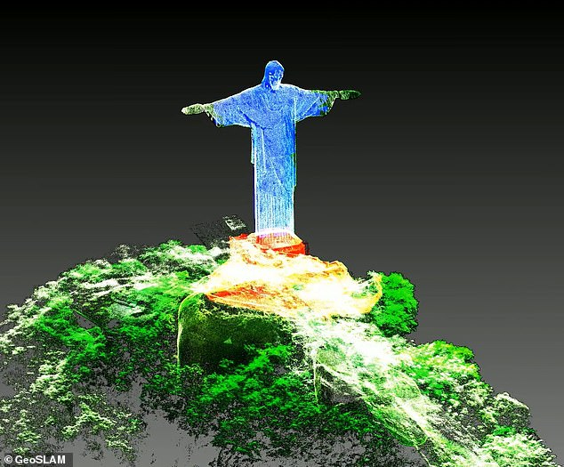 The digital re-creation of the iconic statue involved more than 180 million points of data - taken from a drone mounted laser scanner and someone walking up and down the staircases inside the statue using the same scanner