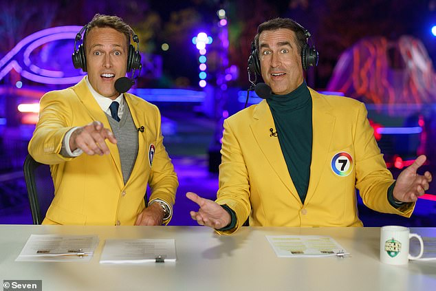 Coming soon! Holey Moley is set to premiere during the week commencing Sunday, January 31. Pictured: commentators Matt Shirvington and Rob Riggle
