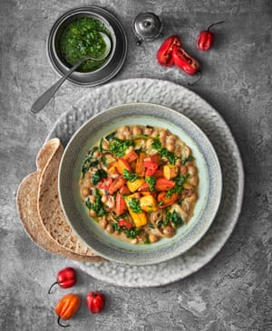 Curried coconut chickpeas and maple roast spiced winter ground provision by Andi Oliver. Food styling: Livia Abraham. Prop styling: Pene Parker.