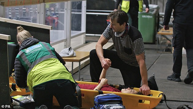 Worrying:The skater will be out for 'quite a few weeks' while she recovers following the 'freak accident'