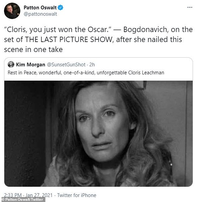 Incredible:Patton Oswalt took a moment to remind his following of Leachman's groundbreaking performance in The Last Picture Show, which earned her an Academy Award in 1972