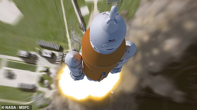 The mega-rocket is intended to return humanity to the lunar surface this decade ¿ and is hoped will still launch on an unmanned orbit of the Moon in November. Pictured, an artist's impression of theSpace Launch System blasting off on a mission