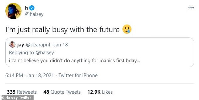 Plenty on her plate: She said she was 'just really busy with the future' when a fan asked why she hadn't done more to mark Manic's one-year anniversary