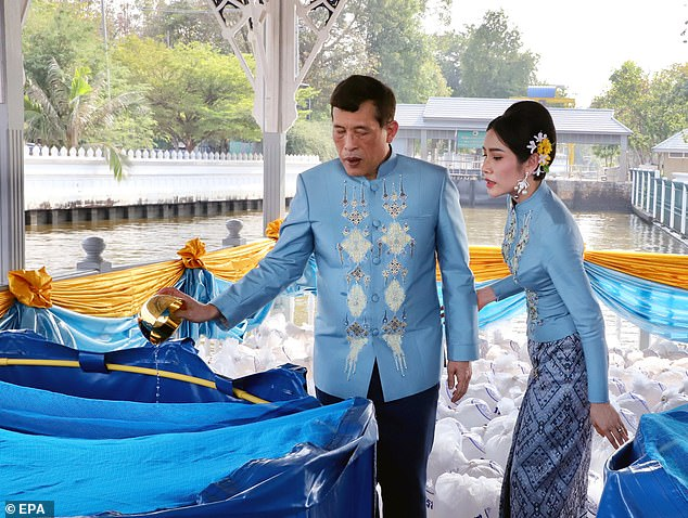Thai King Maha Vajiralongkorn and Queen Sineenat at Wasukri pier in Bangkok