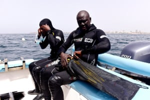 Underwater archaeologist Ibrahima Thiaw and colleague in a diving expedition to find traces of slave shipwrecks off Goree, west Africa