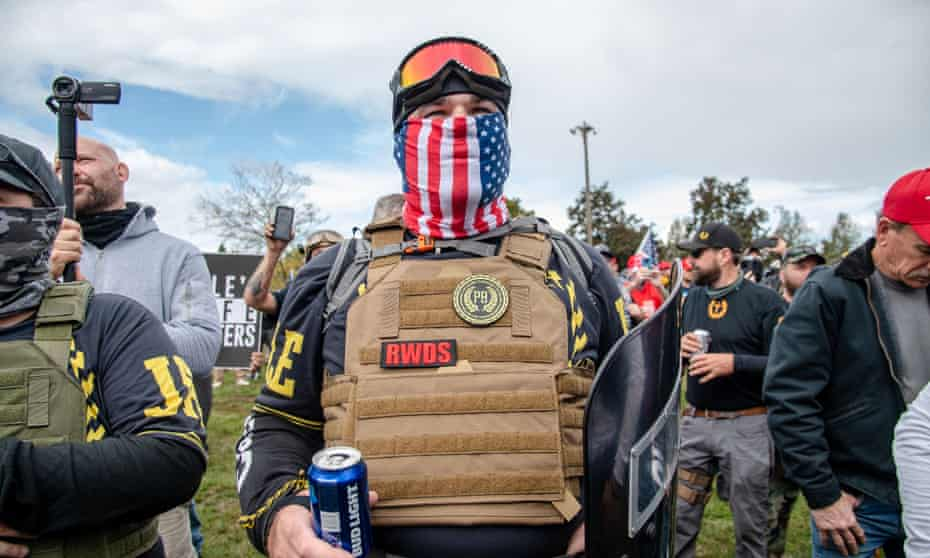 Proud Boys gather for a rally in Portland, Oregon, in September 2020.