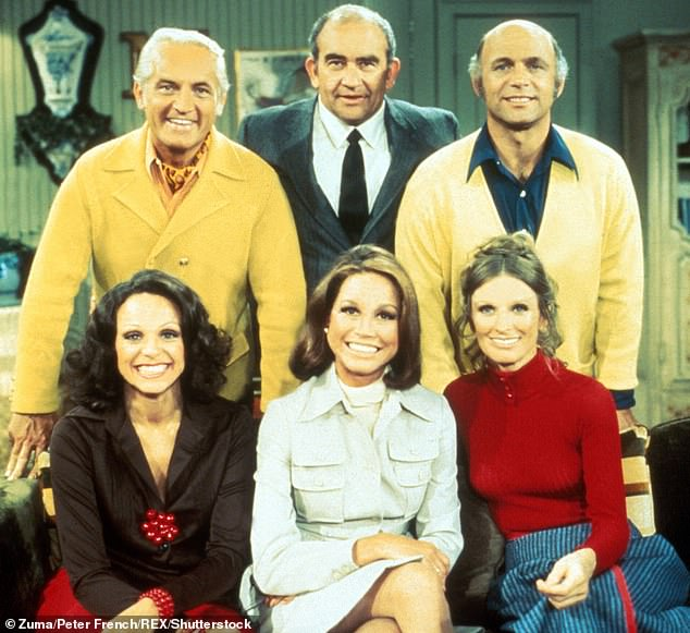 Throwback: Cloris (bottom right) became a star on The Mary Tyler Moore Show; pictured with Mary Tyler Moore, Ed Asner, Ted Knight, Gavin Macleod and Valerie Harper