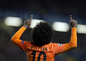 Willian celebrates after scoring against Chelsea in 2012.