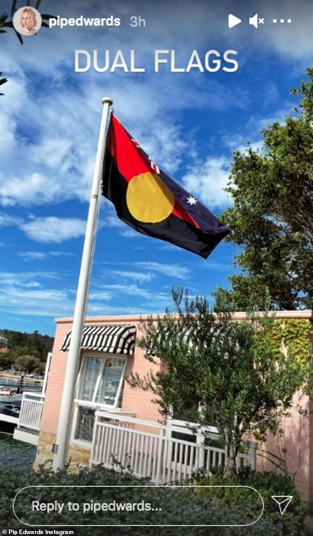 Getting it wrong: Pip also shared a video of a man raising both the Australian and Aboriginal flags, but the Aboriginal flag was flown upside down by mistake