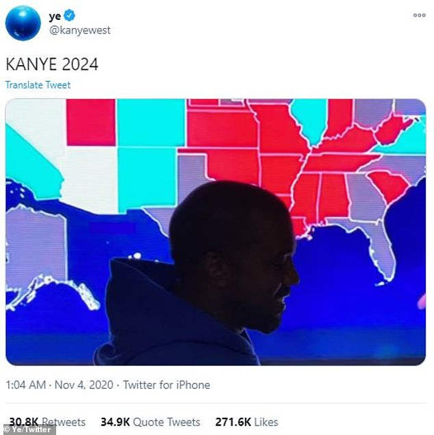 Laying low: The rapper hasn't been active on Twitter since election week where he suggested he'll be running for POTUS again in 2024
