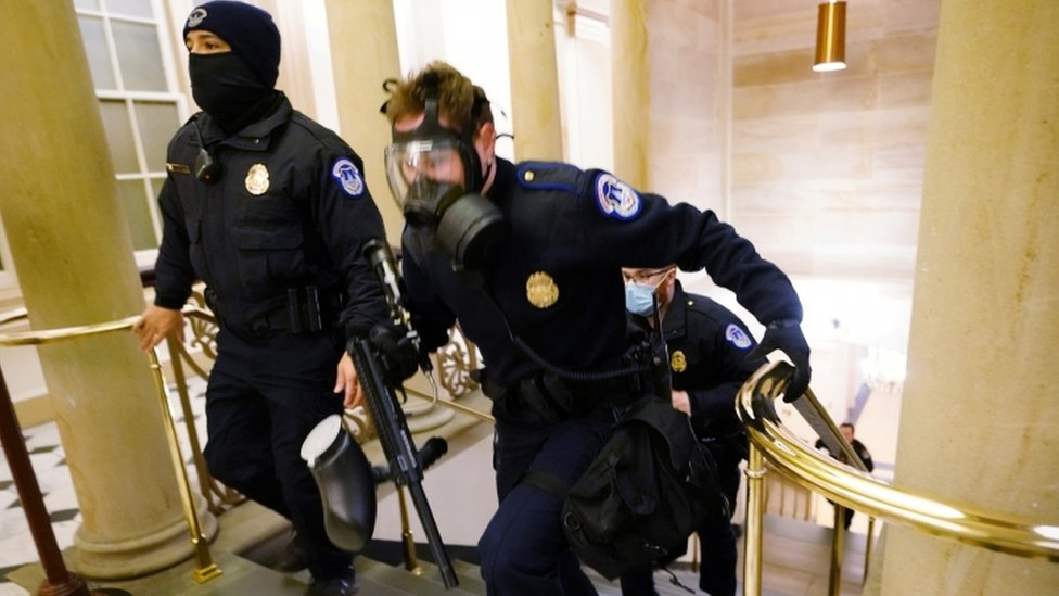 Police inside Capitol building