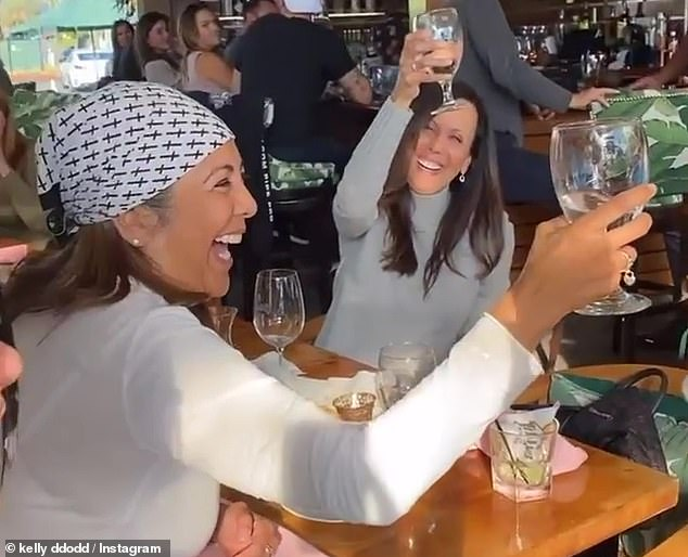 Super spreaders: The Real Housewives of Orange County star took to her Instagram Story Saturday with some particularly tone-deaf videos from a group outing