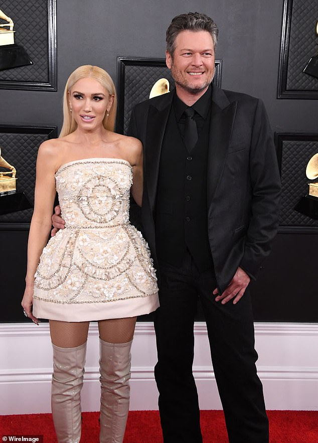 Love birds:Blake and his longtime love Gwen, 51, announced their engagement on October 27, 2020; seen together January 26, 2020 at the 62 Annual Grammy Awards at STAPLES Center