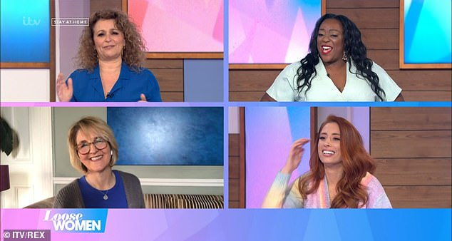 Oversharing: Nadia Sawalha, Stacey Solomon, Judi Love and Kaye Adams appeared on the panel to discuss a campaign featuring different breeds of cats, encouraging women to undergo their smear tests