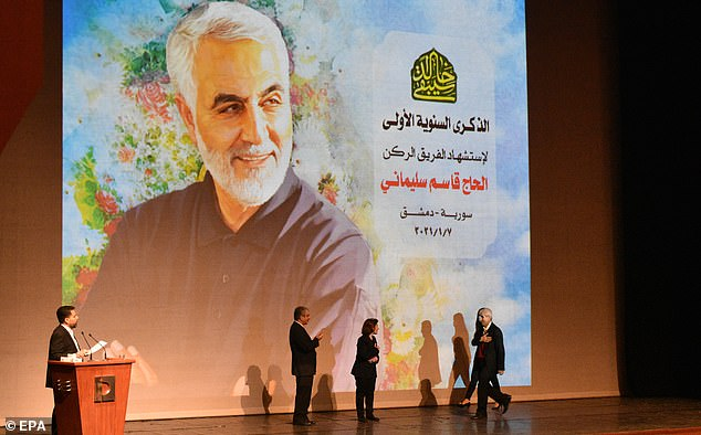 A ceremony marking the first anniversary of the death of the Iranian General Qasem Soleimani, in Damascus, Syria, on January 7, 2021
