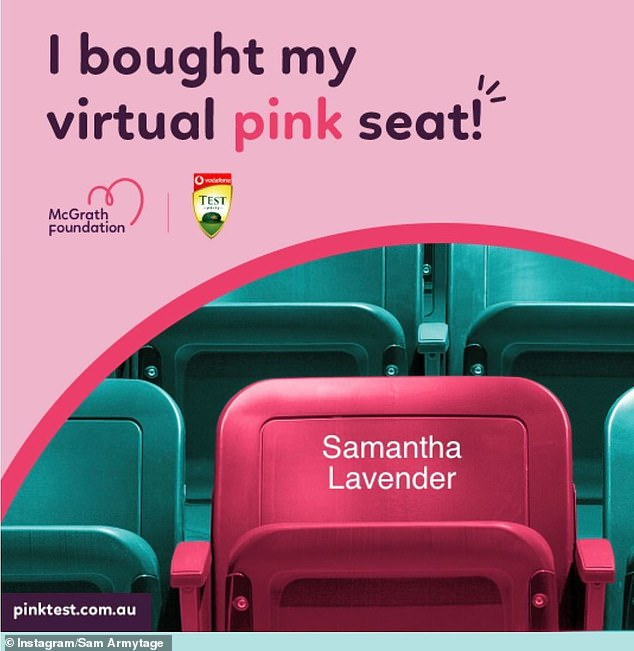 It's official! The journalist shared a picture of the virtual pink seat she bought for the cricket that supported the McGrath Foundation, with her name reading: 'Samantha Lavender'