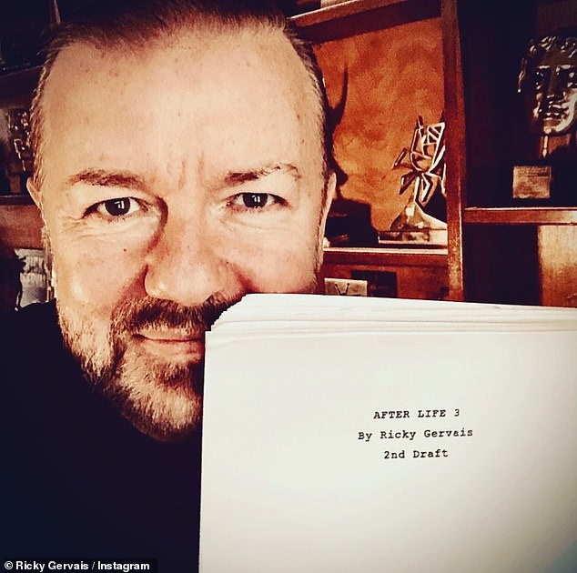 Upcoming: Rickypreviously shared a glimpse of the script for the third series of After Life with the front page reading: 'After Life 3, by Ricky Gervais, 2nd Draft'