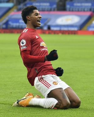 Rashford celebrates after scoring against Leicester City on Boxing Day 2020.