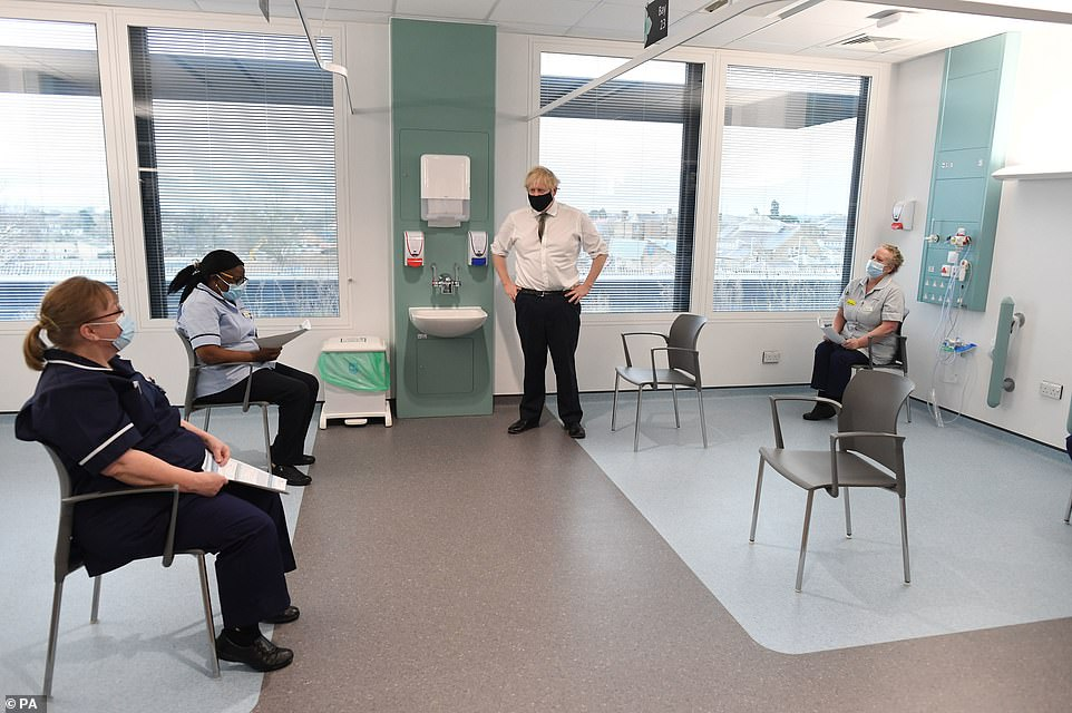Boris Johnsonspeaks to NHS staff waiting to be vaccinated against coronavirus during a visit to Chase Farm Hospital earlier today ast he NHS is ramping up its vaccination programme