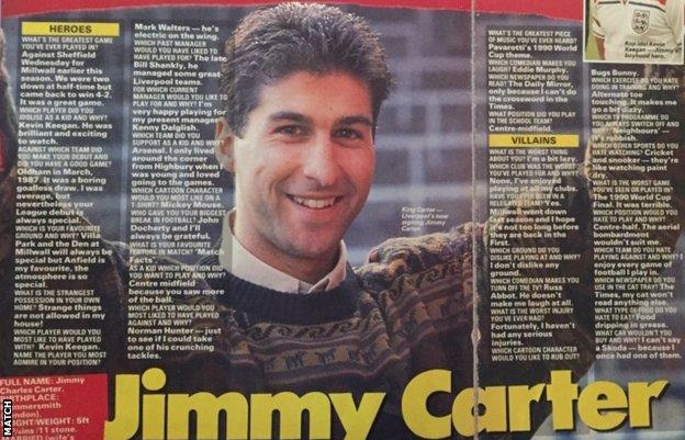A Match magazine interview with Jimmy Carter following his move to Liverpool