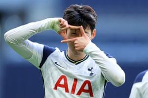 Son Heung-Min of Tottenham Hotspur celebrates after scoring their team's second goal.