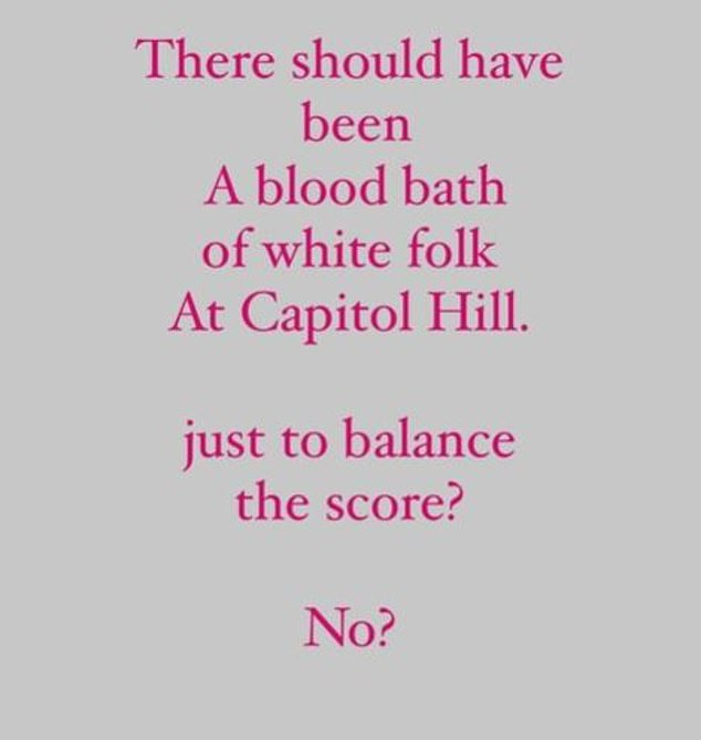 'There should have been a bloodbath of white folk at Capitol Hill. Just to balance the score?' Firass implied the police response would have been very different if the rioters were black