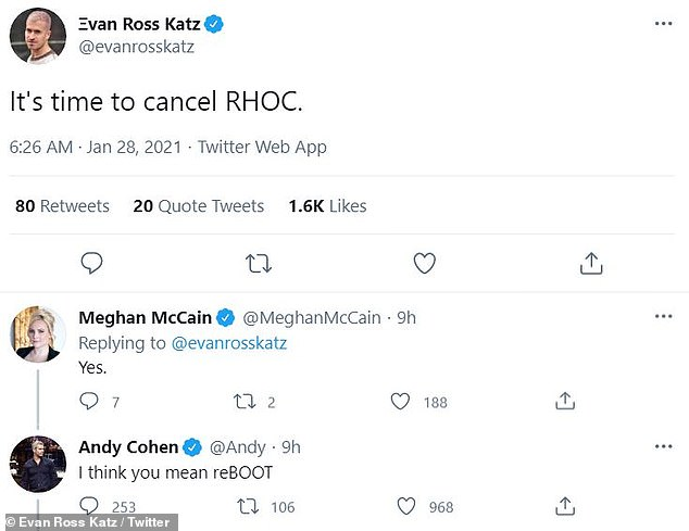 Reboot: Meanwhile, Andy Cohen recently hinted on Twitter that RHOC might be headed for a casting overhaul, after responding to calls to cancel the show: 'I think you mean reBOOT'