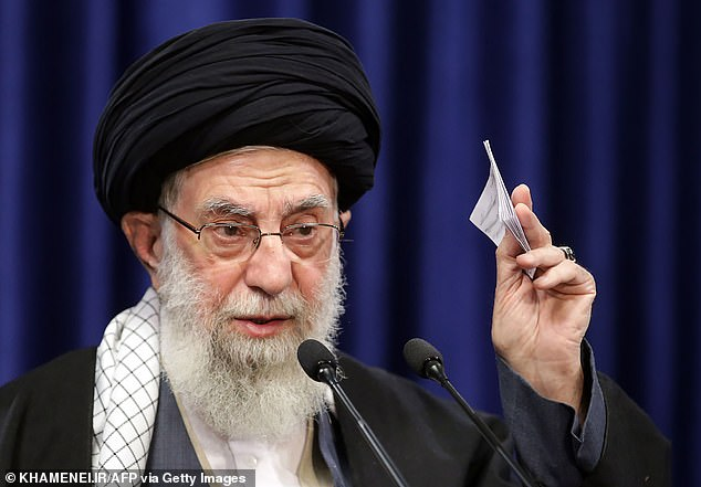 Iran's Supreme Leader Ayatollah Ali Khamenei delivers a speech on January 8, 2021. On Friday, he posted a picture suggesting that Trump should be killed as revenge for the death ofKhamenei's top generalQassem Soleimani