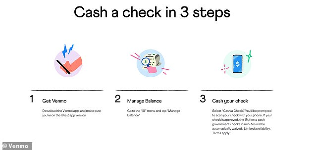 Customers take a photo of their check and upload it to the app for approval. While Venmo says the process should only take three to five minutes, it can take up to an hour in some circumstances