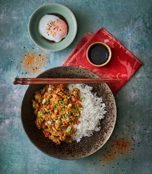 Dashi keema curry with onsen tamago egg by Shuko Oda. Food styling: Livia Abraham. Prop styling: Pene Parker.