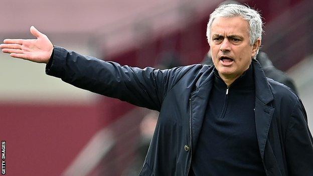 Jose Mourinho shouts from the touchline
