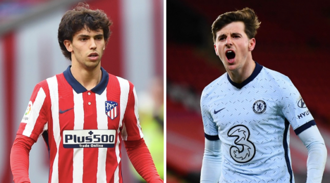 Joao Felix and Mason Mount look on ahead of Atletico Madrid's Champions League clash with Chelsea