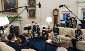 Joe Biden and Kamala Harris meet with Republican lawmakers, including Mitt Romney, Susan Collins and Lisa Murkowski, to discuss a coronavirus relief package.