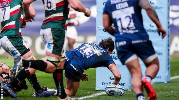 Piers O'Conor's try was Bristol's second in five minutes against Leicester's 14 men