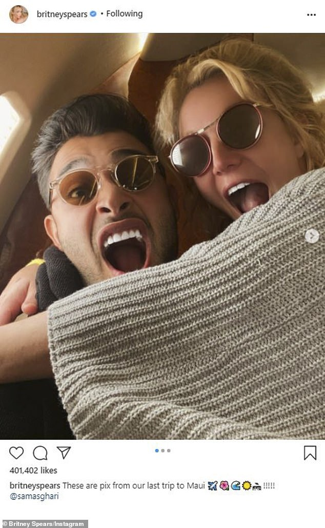 Fun time:Britney Spears, 39, on Tuesday shared a series of shots of herself with boyfriend Sam Asghari amid their most recent Hawaiian vacation