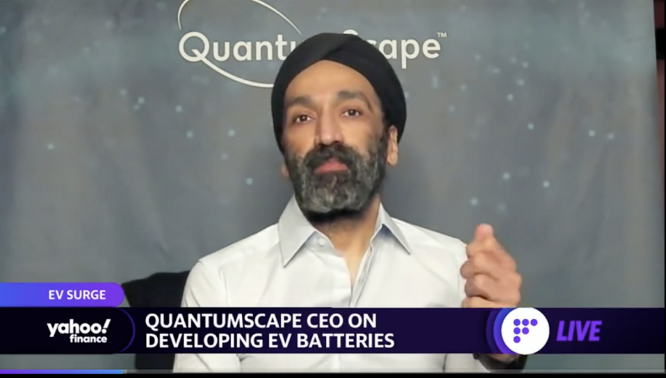 The CEO of QuantumScape speaks to Yahoo Finance.